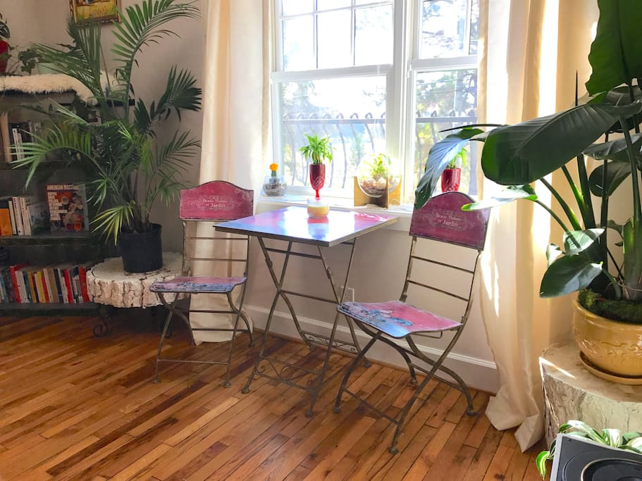 Your dining area overlooks Hanes Park