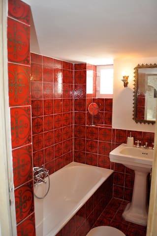Bathroom with tub/shower and original maiolica tiles