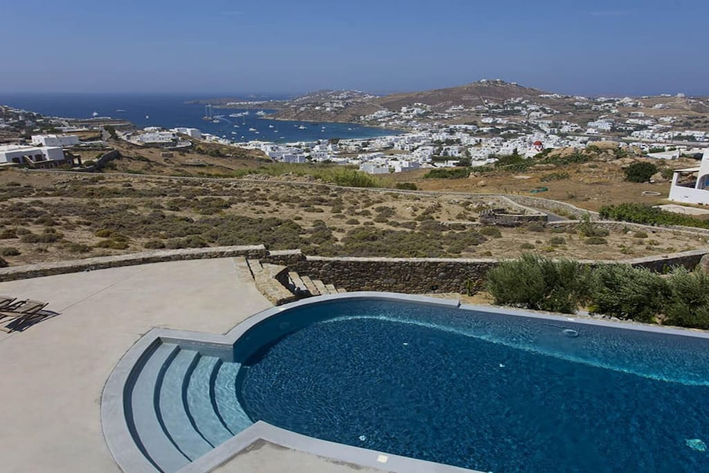 Swimming pool with view to Ornos beach
