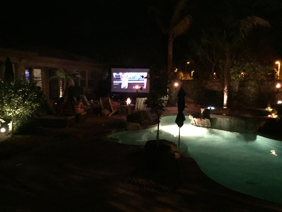 Outdoor movie night in backyard can be arranged for $75/night.
