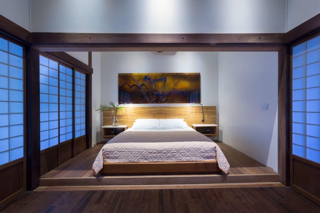 Master bedroom with Japanese Shoji screens.