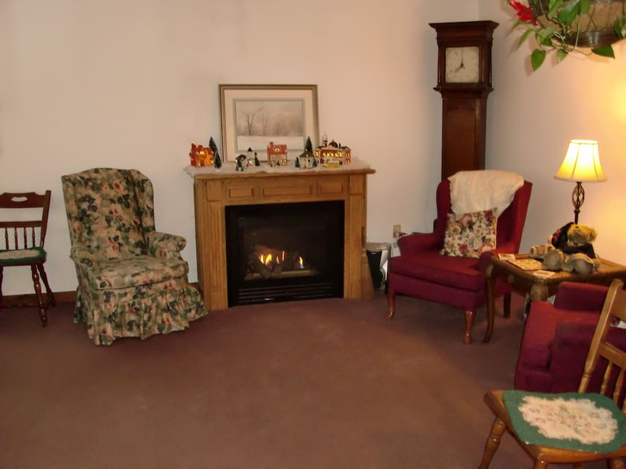Cozy Guest Living Room & Fireplace