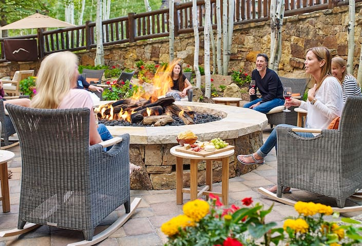 Outdoor fire pit, excellent for relaxing after a full day of outdoor activities and a great way to met others.