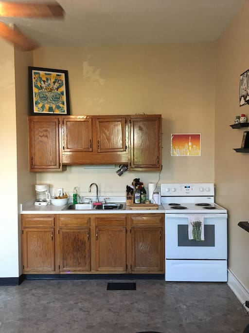 The kitchen has everything you'll need to prepare a meal at home. The apartment is only 1 mile from a grocery store.