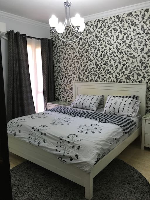 master bedroom with washroom and 180cm king bed