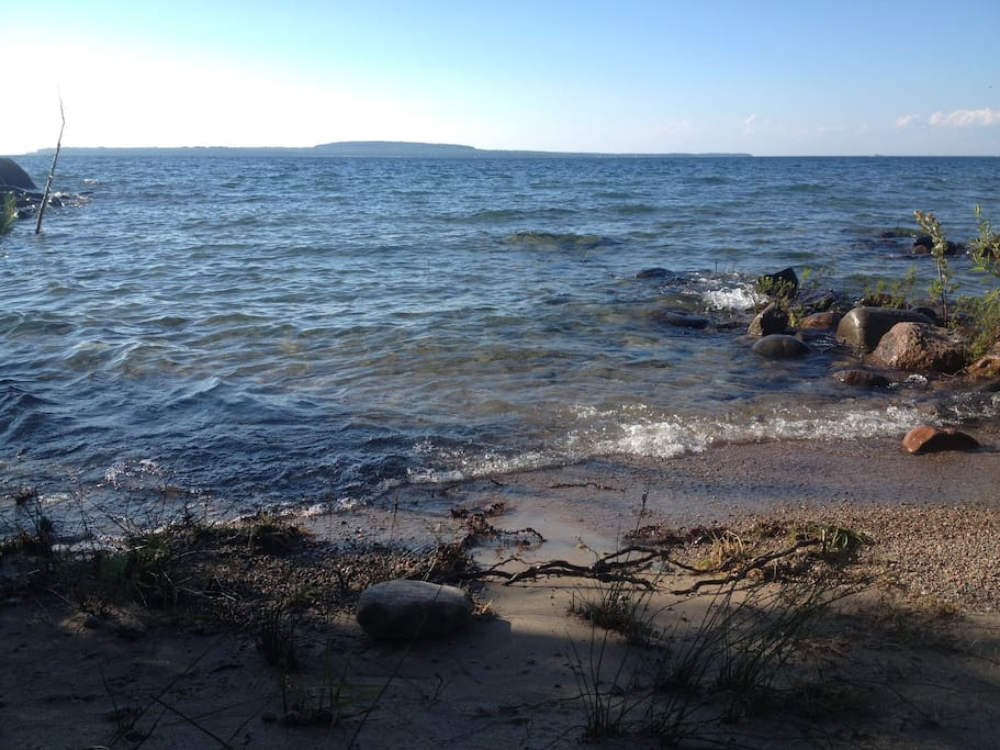 Georgian Bay - deeded access across the street from cottage.  It's rocky so you need water shoes!  But a great spot to make use of those pool floats.