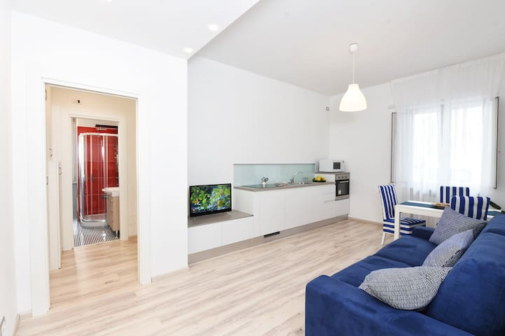 Living room and cooking area ⁐ King Bed Apartment ⁐ DOWNTOWN ⁐ Walk to Beach!