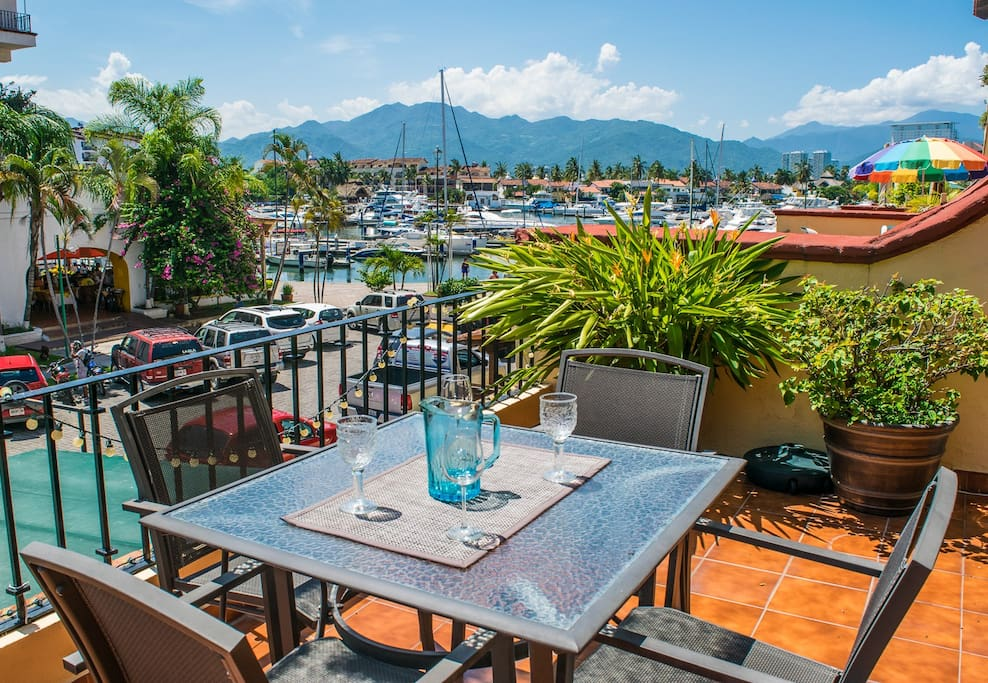 Enjoy relaxing on the massive terrace  overlooking the Marina Dock area.