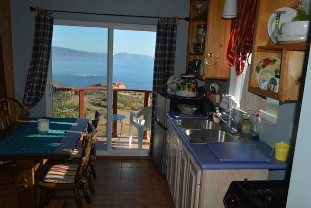 Fully stocked Kitchen has ocean view