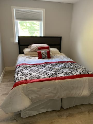 Second bedroom with a queen sized memory foam mattress.