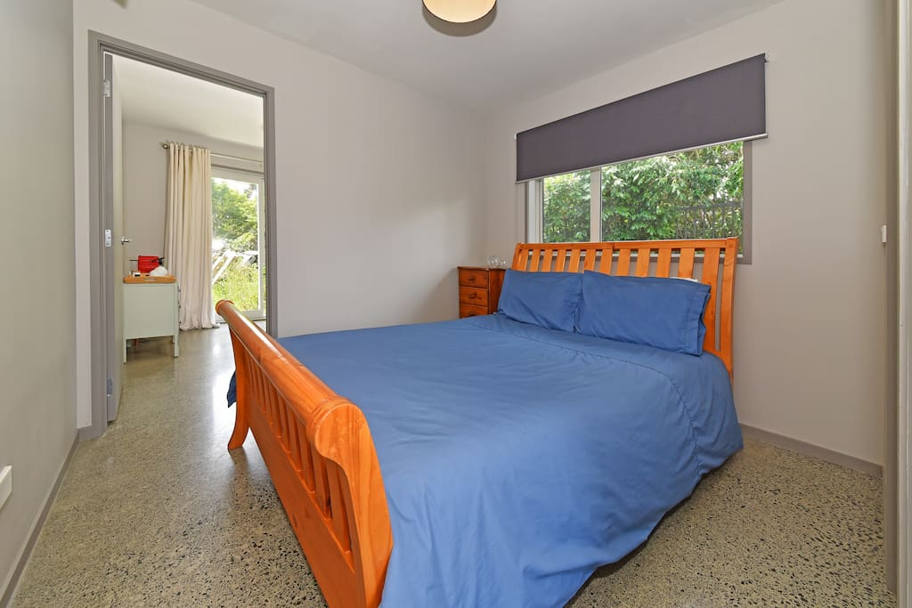 Large double bed with fully enclosed, high quality dust mite covers on duvet, pillows and mattress.  No chemicals or fragrances are used on our laundry.