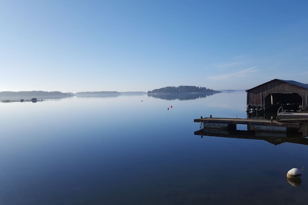 Our small bay with the boathouse.