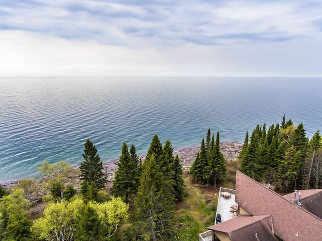 Pointavu is a well-designed home outside of Lutsen with a large deck overlooking Lake Superior.