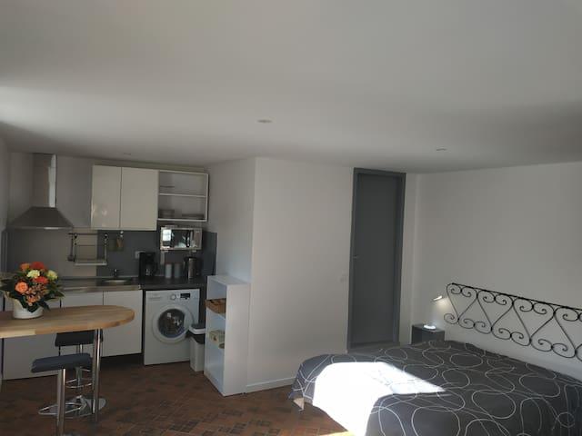 Studio comprenant cuisine tout équipé, dressing, coin bureau, coin tv,salle de bain. Un lit double en 160 ou deux lits simple en 80