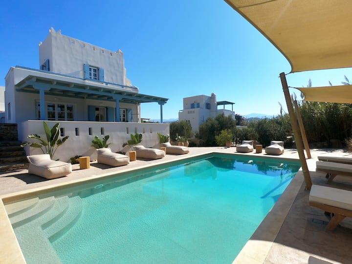 Seaside Naxos • 2 Villas • 7 Bdr • Pool • Sleeps18