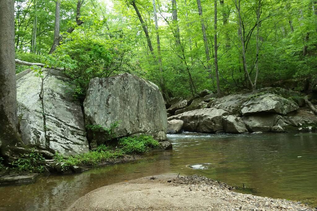 Rocky Stream below Trailer.