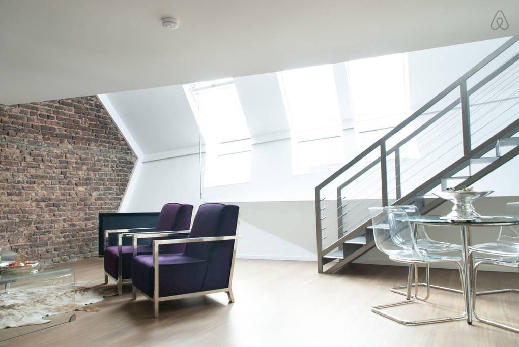 designer penthouse loft privatzimmer wohnungen zur miete in k ln nrw deutschland. Black Bedroom Furniture Sets. Home Design Ideas