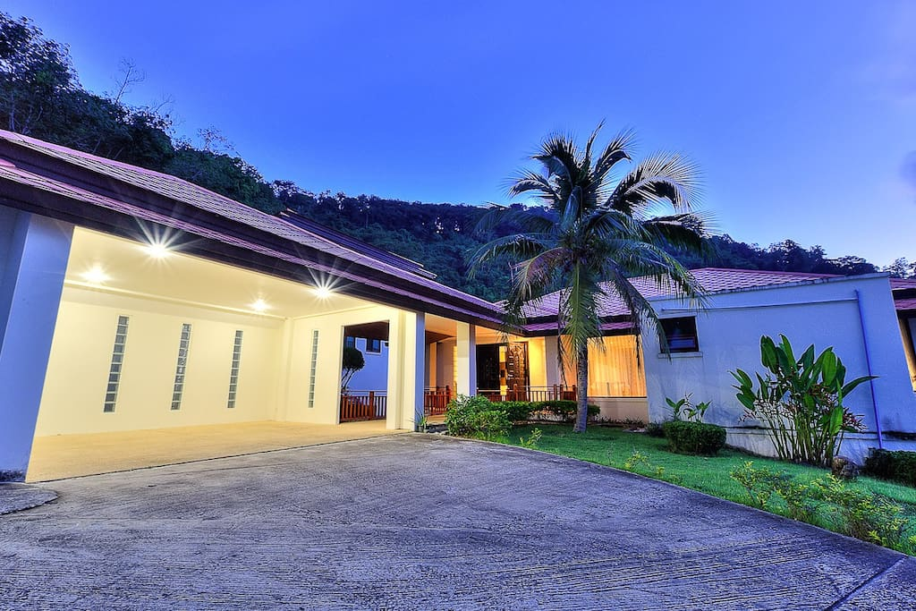 Covered Twin Carport connected to Villa and Beautiful Garden & View around...