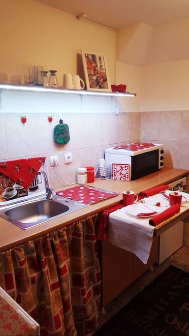 Kitchenette located on ground level