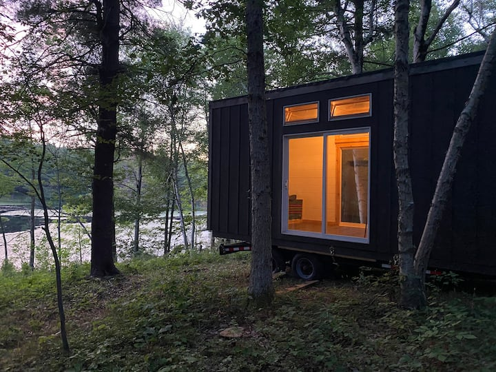 New! Tiny home in private forest with pond view.