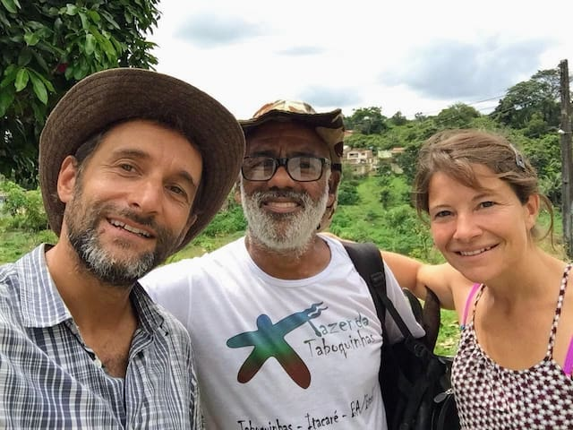 Osvaldo and guests, ready to explore the area around the Fazenda. He loves to guide and teach.