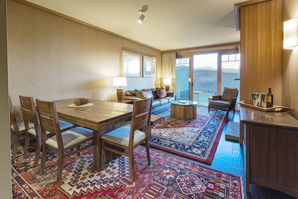 One of a kind furniture you will not find in any other unit in the Lodge.  We picked this furniture from Macy's and the family style dining room table is spacious and can accommodate up to seven people.