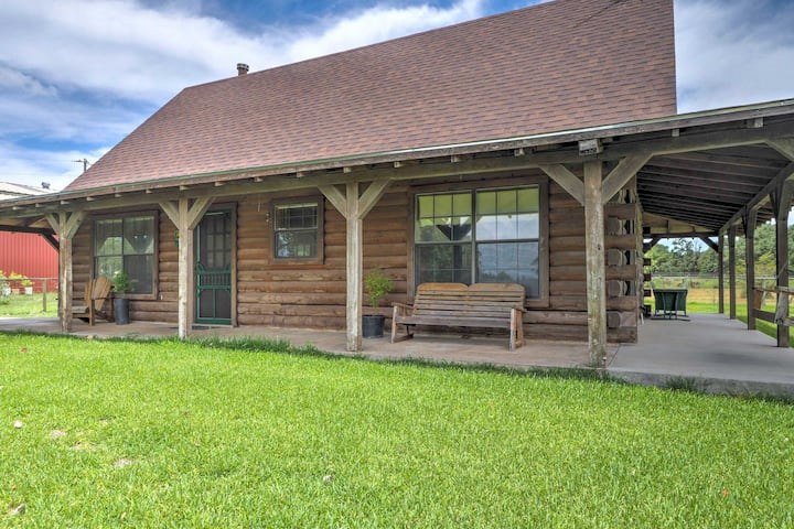 Carmine Log Cabin w/Porch On 60-Acre Farm!