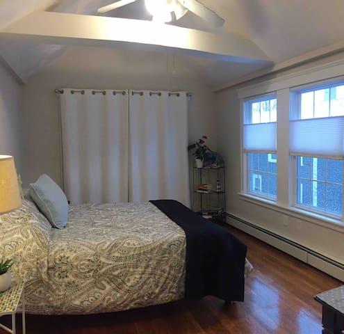 Ceiling fan, AC, or saltwater breeze.  2 lg sunny windows.