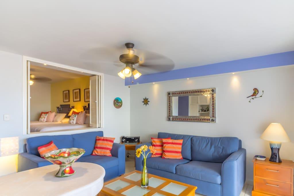 Cozy living area with sleeper sofa