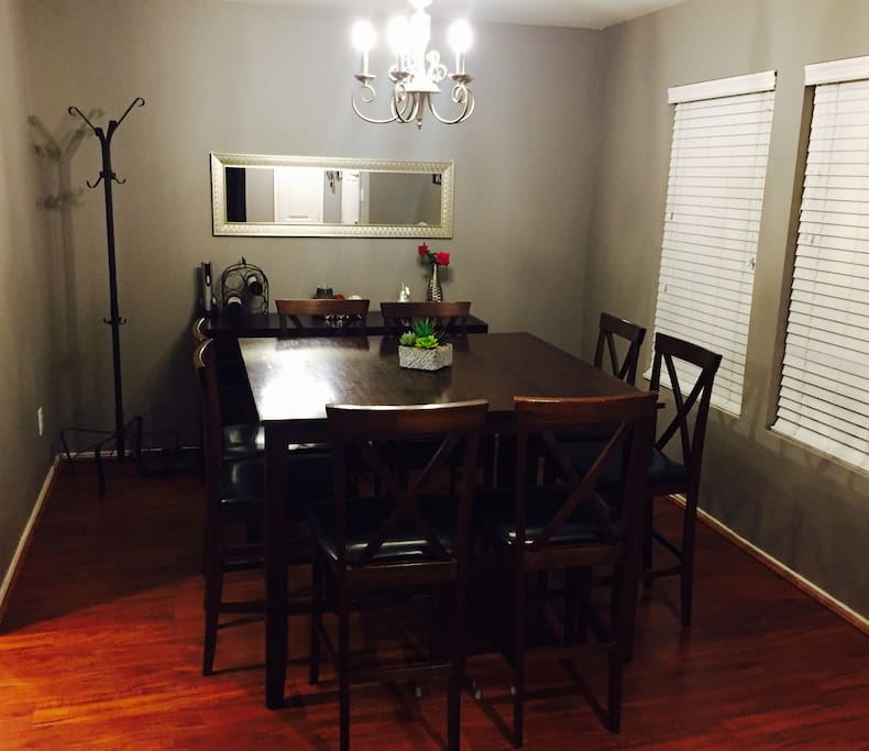 Share a great meal in this dining room for 8.