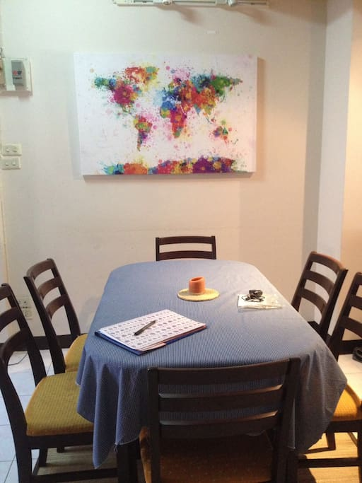 Dining area with international art