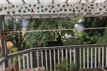 Covered deck with clothesline