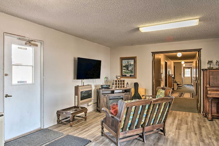 The common space boasts a flat-screen Smart TV and more.
