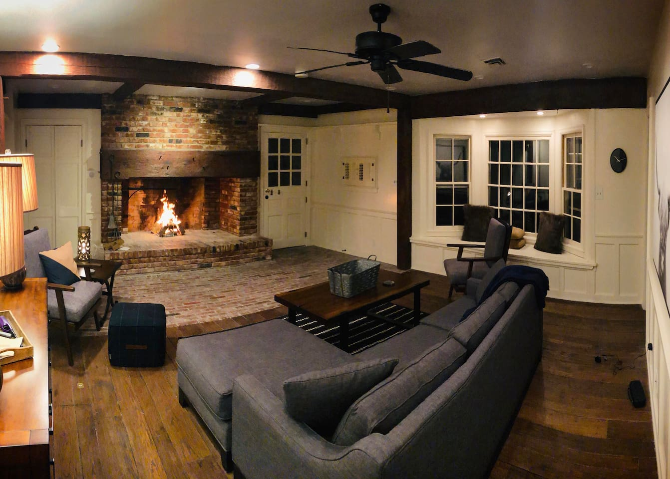 Cozy Den with Large Fireplace