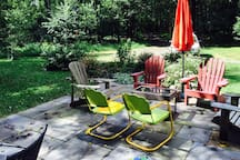 """Patio -- our other favorite """"room,"""" even on chilly days."""