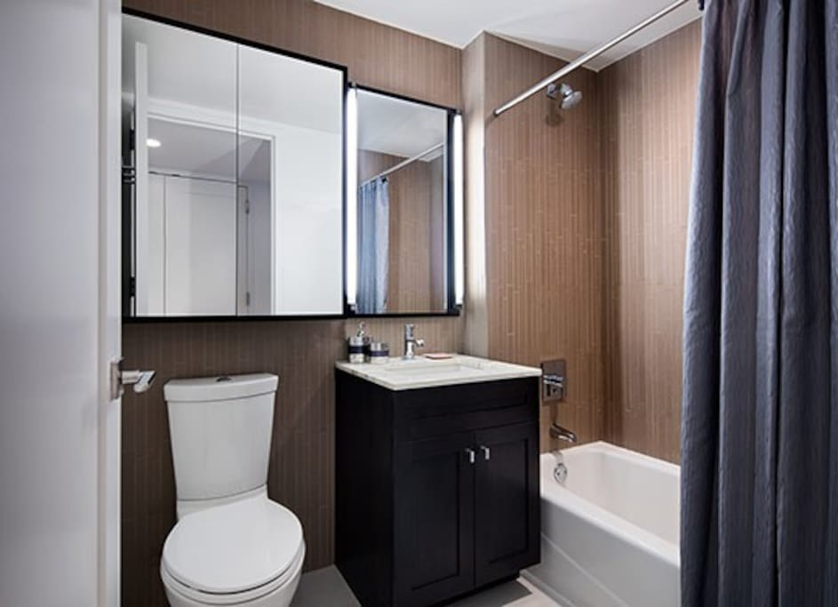 You will have your private bath room which includes bath tub, towels, hand soap, shampoo, and conditioner.