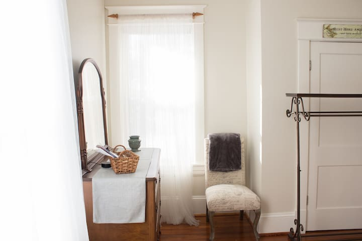 Two windows provide lots of natural light.