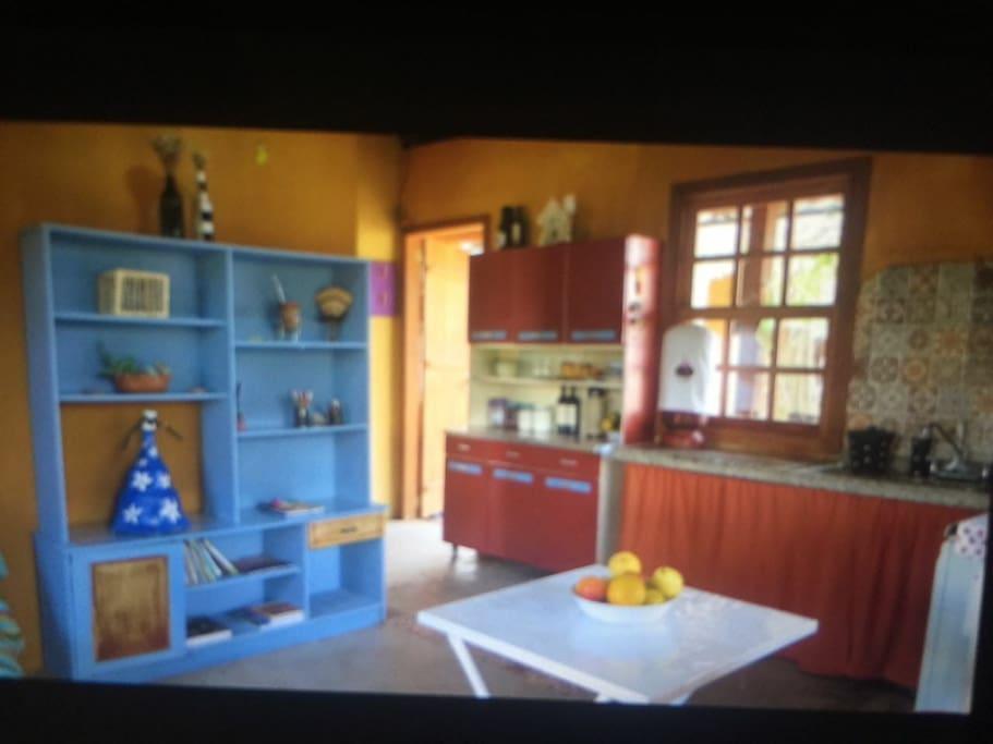 Vista parcial sala cozinha