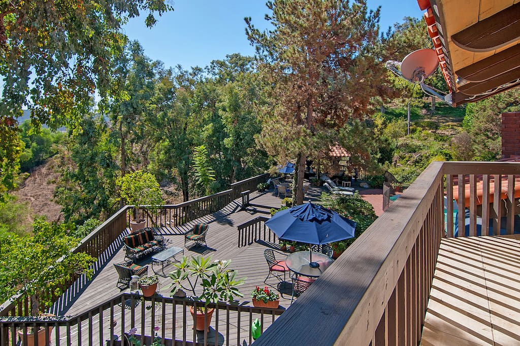 Multiple outdoor living areas let you take in the setting in privacy or with the group.
