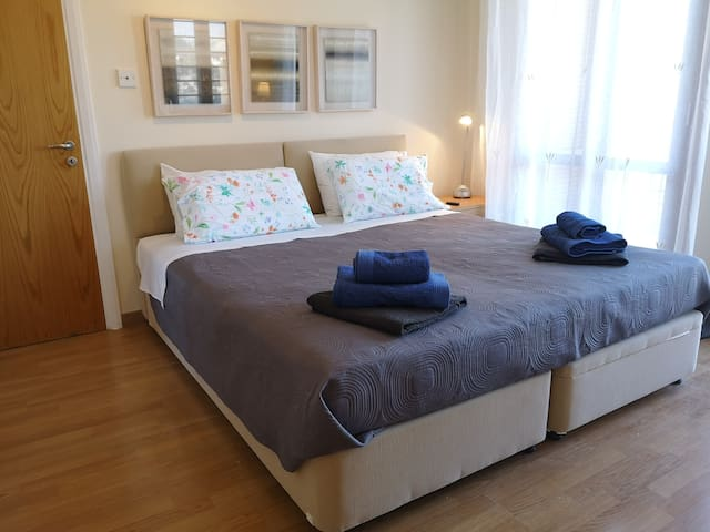 double bedroom, with ensuite bathroom with bathtub and shower, direct access to the terrace
