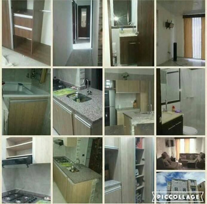 collage cocina, sala y baños