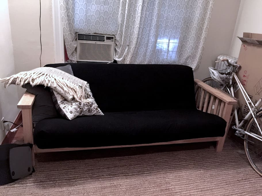 Private living room with second full size futon