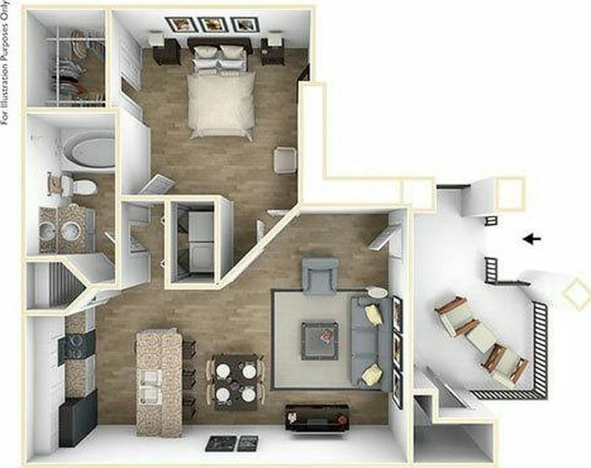 Floor plan of unit with balcony.