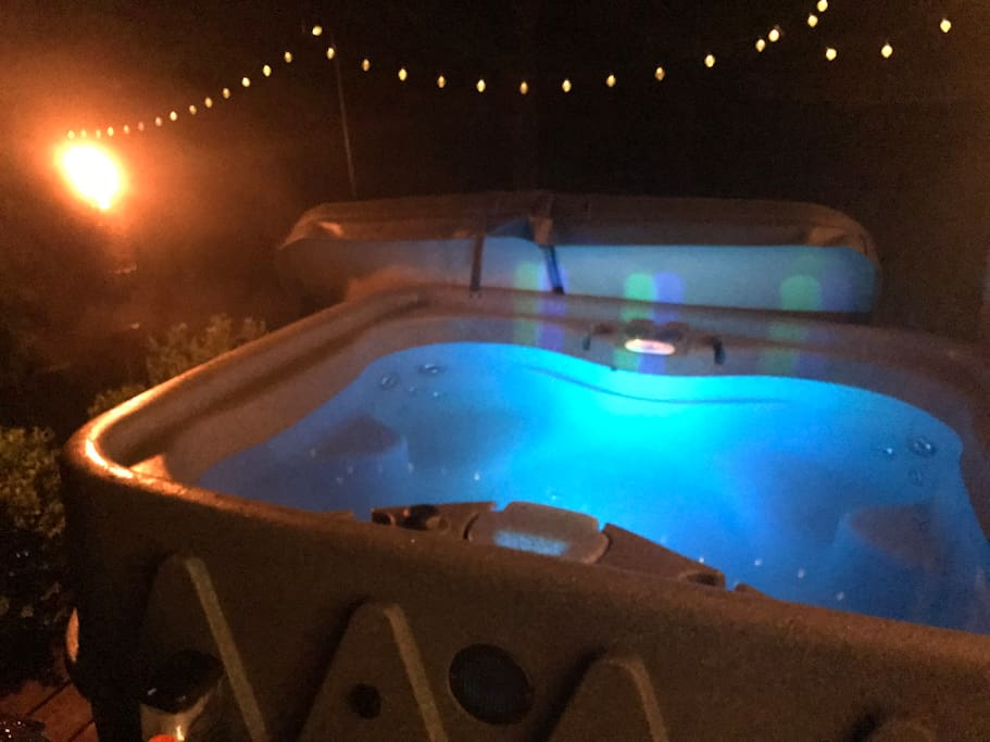 private hot tub, on deck