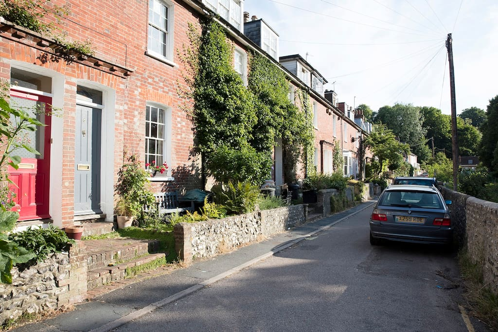 Beautiful road of Victorian terraced houses. The Road is very narrow