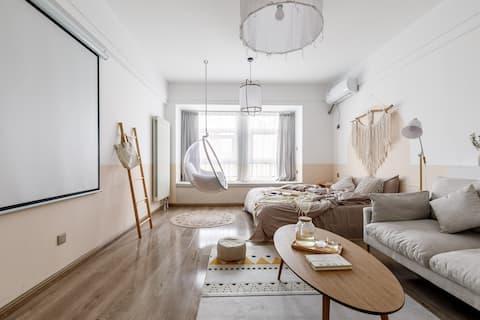 【奈斯优选】日系清新风|近荣盛国际|北园大街|大屏投影|时尚一居公寓