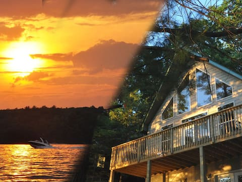 Sunset View Lakefront Chalet with seasonal dock/AC
