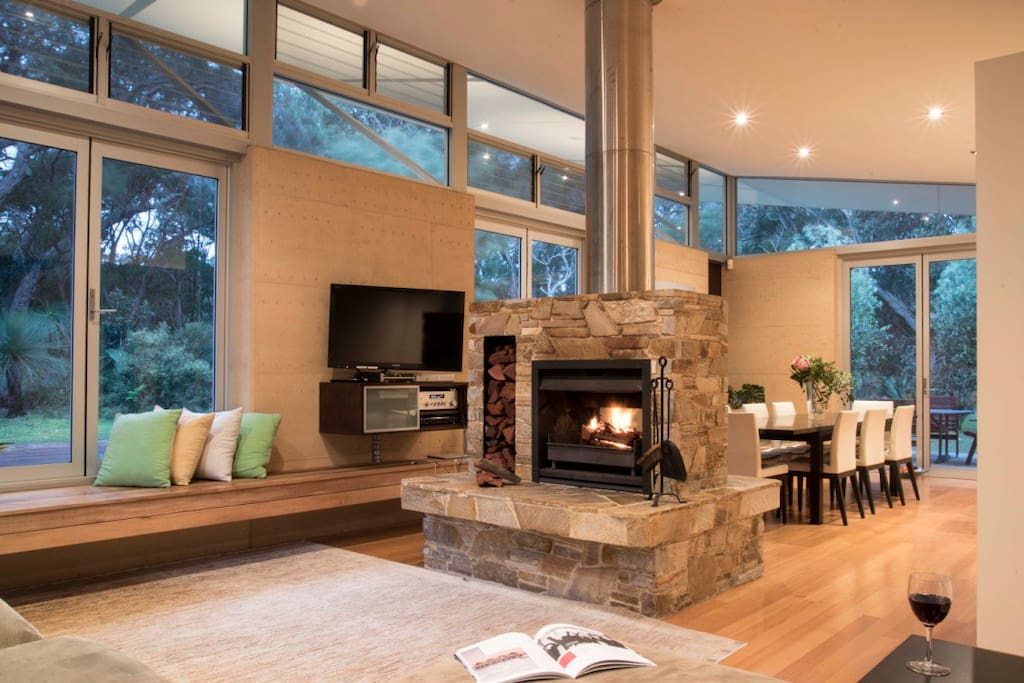 Double open sided fireplace