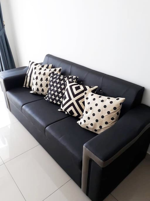 Living Hall - Sofa with BW Geometric Pattern Cushions