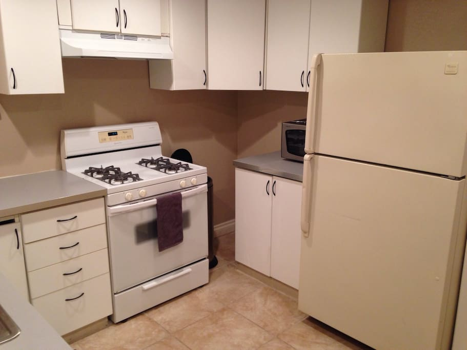 Stove, Microwave and refrigerator.